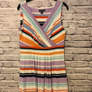 Lands End Fit and Flare Striped Dress